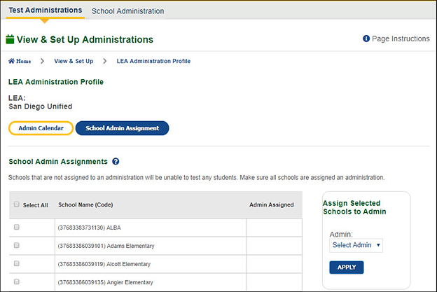 School Administration Assignment Tab—CAASPP