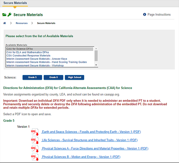 Screenshot of secure materials screen with drop-down list of available materials set to CAA for Science DFAs.