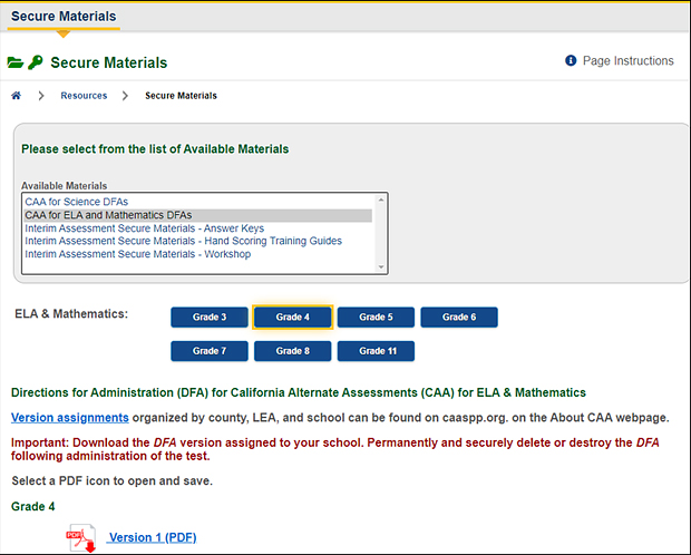 Screenshot of secure materials screen with drop-down list of available materials set to CAA for ELA and mathematics DFAs.
